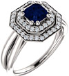Asscher-Cut Blue Sapphire and Diamond Halo Bridal Ring Set