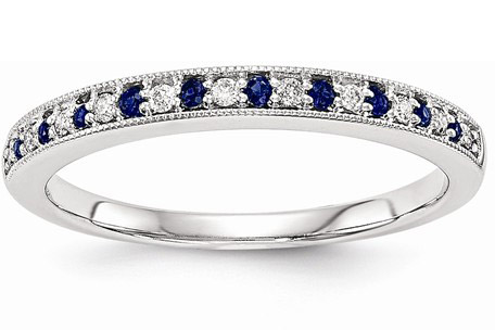 Blue Sapphire and Diamond Wedding Band Ring, 14K White Gold