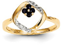 14K Gold Sapphire Flower and Diamond Ring