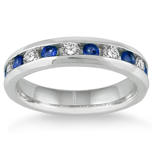 Sapphire and Diamond Channel Band, 14K White Gold