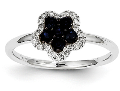 Sapphire and Diamond Floral Ring, 14K White Gold