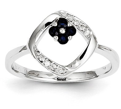 Small Sapphire Flower and Diamond Ring, 14K White Gold