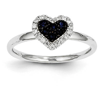 Sapphire and Diamond Heart Ring