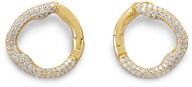 18K Gold Plated Sterling Silver Illusion-Set Hinged CZ Earrings