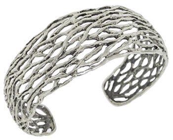 Woven Sterling Silver Cuff Bracelet (Apples of Gold)