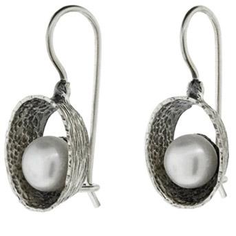 Buy Encircled Pearl Earrings in Sterling Silver