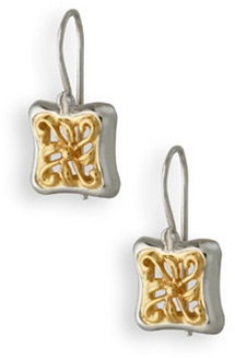 Buy Two-Tone Butterfly Vine Earrings in 14K Gold and Sterling Silver