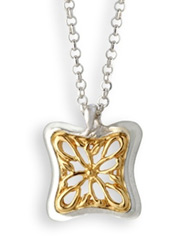 Two-Tone Butterfly Vine Necklace in 14K Gold and Sterling Silver (Necklaces, Apples of Gold)
