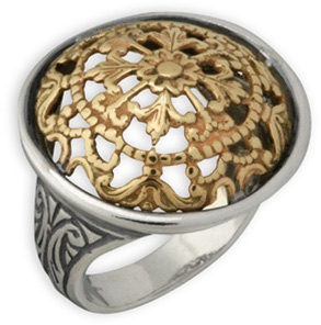 Buy Baronial 14K Gold and Sterling Silver Domed Ring