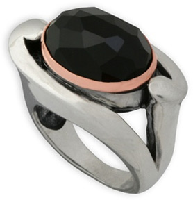 Buy Beveled Onyx Ring in Sterling Silver and 14K Rose Gold