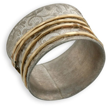 Matte Sterling Silver and 14K Gold Paisley Spinner Ring (Rings, Apples of Gold)