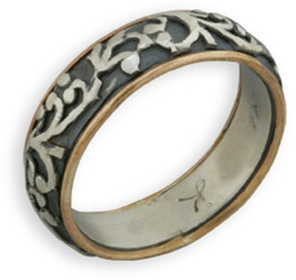 Buy Two-Tone Paisley Sterling Silver and 14K Gold Band