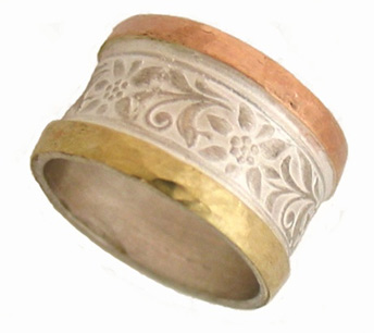 Handcrafted Golden Rose Garden Ring in 14K Gold and Sterling Silver