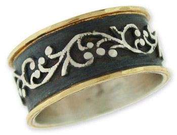 Buy Antiqued Filigree Paisley Band in Sterling Silver and 14K Gold