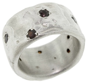 Wide Undulated Sterling Silver Garnet Band (Rings, Apples of Gold)