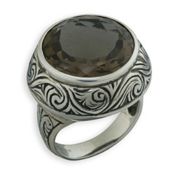 Buy Handmade Paisley Smoky Quartz Ring in Sterling Silver