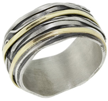 Buy Two-Tone Striped Sterling Silver and 14K Gold Band