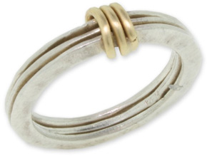 FINAL SALE - Size 9 - Triple Knot 14K Gold and Sterling Silver Band