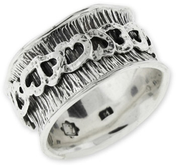 Buy Overlapping Heart Spinner Ring in Sterling Silver