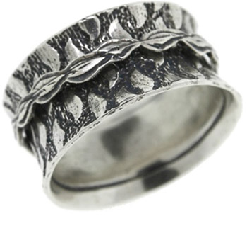 Teardrop Spinner Ring in Sterling Silver