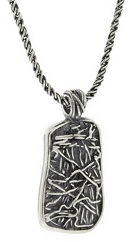 Interweaving Textured Dog Tag Pendant in Sterling Silver (Apples of Gold)