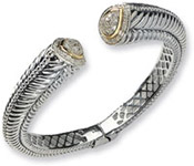 Sterling Silver and 14K Gold Diamond Hinged Bangle Bracelet