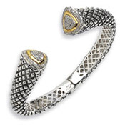 Sterling Silver and 14K Gold 0.63 Carat Diamond Bangle Bracelet