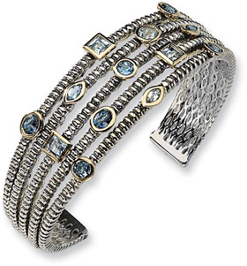 Town & Country Collection Sterling Silver and Blue Topaz Cuff Bracelet