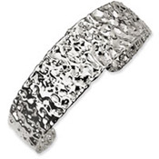 Versil Collection Sterling Silver Hammered Cuff Bracelet