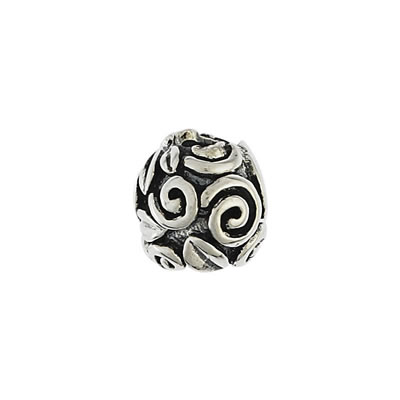 Swirls & Leaves Bead in Sterling Silver