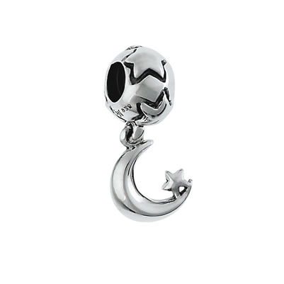 Moon & Star Dangle Bead in Sterling Silver