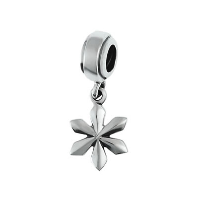 Snow Flake Dangle Bead in Sterling Silver