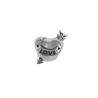 Love Heart Arrow Bead in Sterling Silver