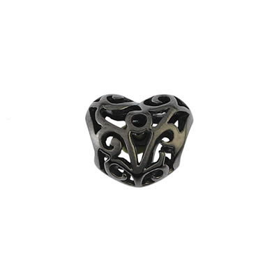 Black Heart Bead in Sterling Silver & Black Rhodium