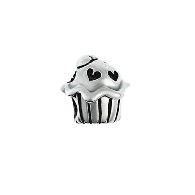 Cupcake Hearts Bead in Sterling Silver