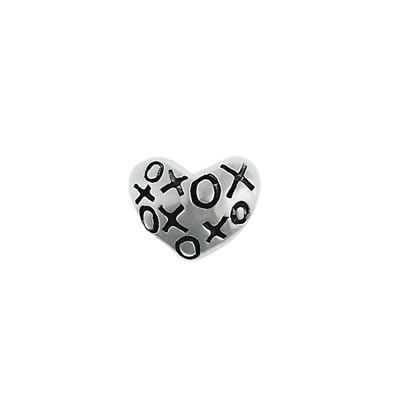 XOXO Heart Bead in Sterling Silver