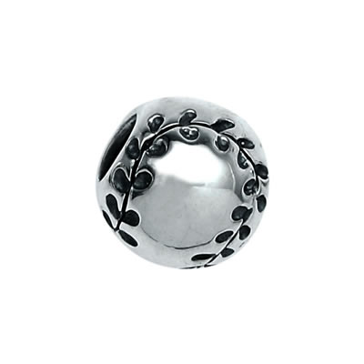 Baseball Bead in Sterling Silver