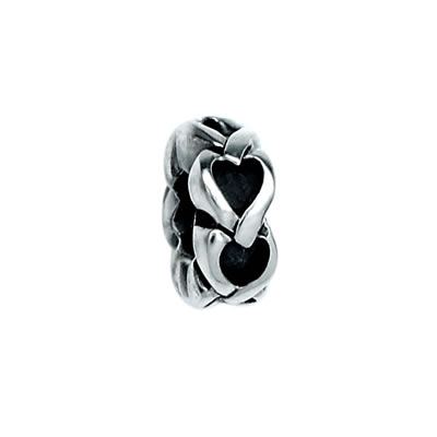 Hearts Spacer Bead in Sterling Silver