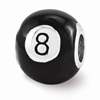 Black 8-Ball Bead in Sterling Silver
