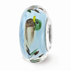 Blue Duck Glass Bead, Sterling Silver (Hand-Painted)