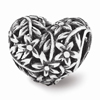 Filigree Flower Heart Bead, Sterling Silver