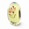 Ivory Hand Painted Floral Dragonfly Glass Bead, Sterling Silver (Hand-Painted)