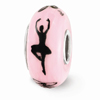 Pink Ballerina Glass Bead, Sterling Silver (Hand-Painted)