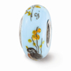 Hand Painted Glass and Sterling Silver Bead
