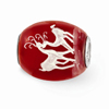 Red Christmas Deer Glass Bead, Sterling Silver (Hand-Painted)