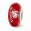 Red Hand Painted Butterfly Glass Bead in Sterling Silver