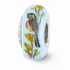 Robin on Forsythia Glass Bead, Sterling Silver (Hand-Painted)