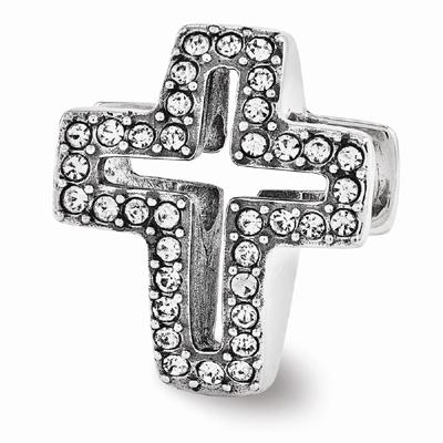 Swarovski Pave Open Cross Bead in Sterling Silver
