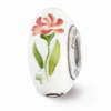 White Hand Painted Phi Mu Glass Bead, Sterling Silver