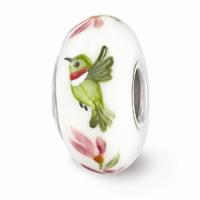White Hummingbird Glass Bead in Sterling Silver (Hand-Painted)